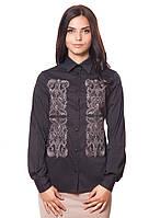 Черная женская рубашка с вышивкой (размеры S-2XL)