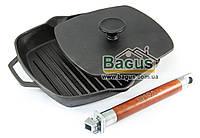 Сковорода чугунная гриль 24 см квадратная с чугунным прессом (прижимом) и съемной ручкой Биол (1024)