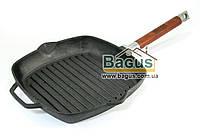 Сковорода чугунная гриль 24 см квадратная со съемной ручкой Биол (10241)