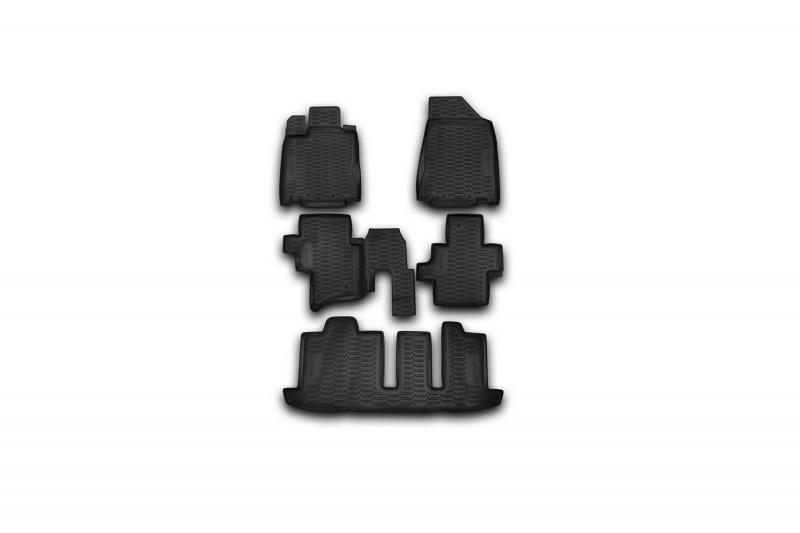 Коврики в салон для Nissan Pathfinder, 2014-> 5 шт, для 3х рядов сидений полиуретан  999RMR52BL