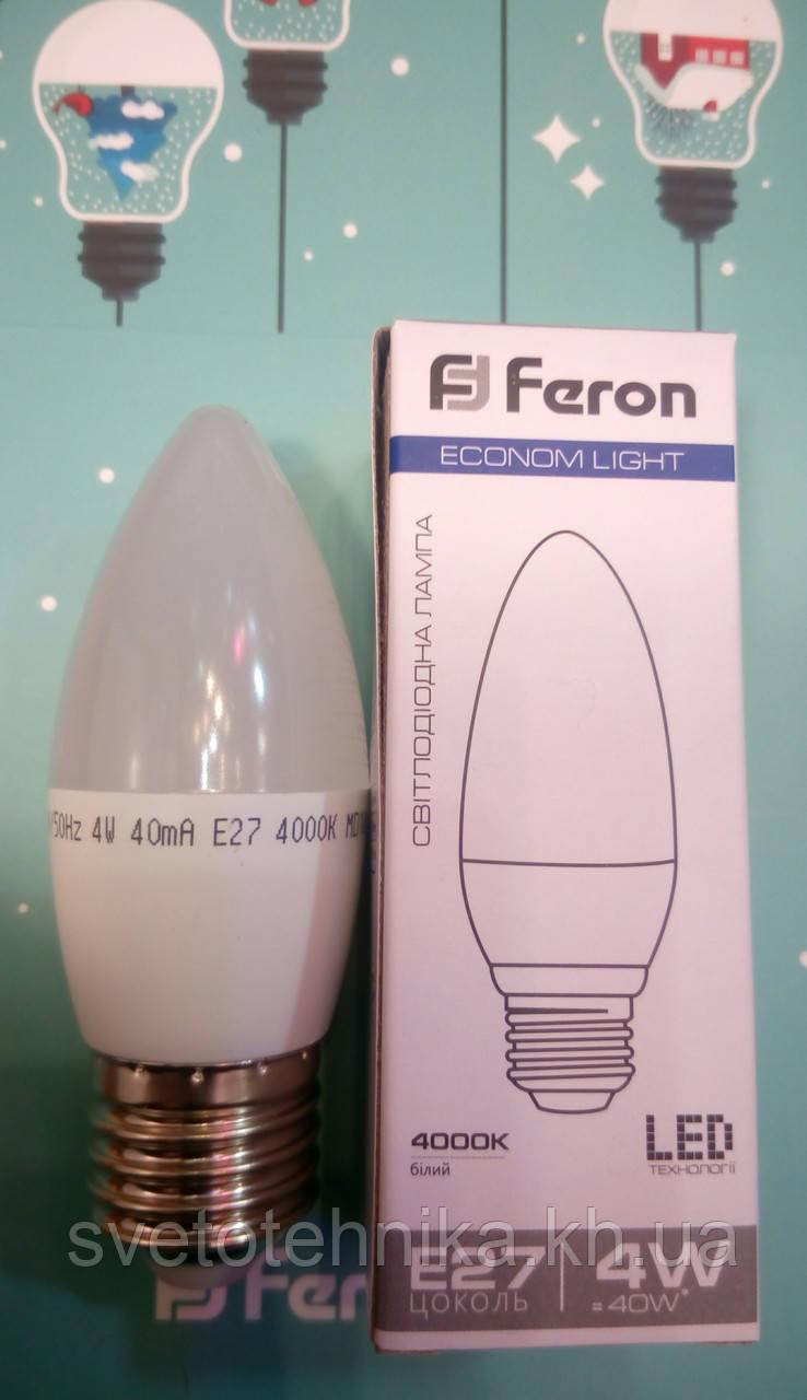 Світлодіодна лампа (свічка) Feron LB-720 E27 4W 2700K для загального і декоративного освітлення