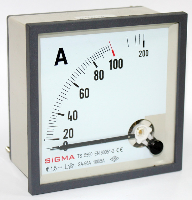 Амперметр 0 - 100А (100/5) панельный щитовой 96х96 мм стрелочный цена переменного тока шкаф