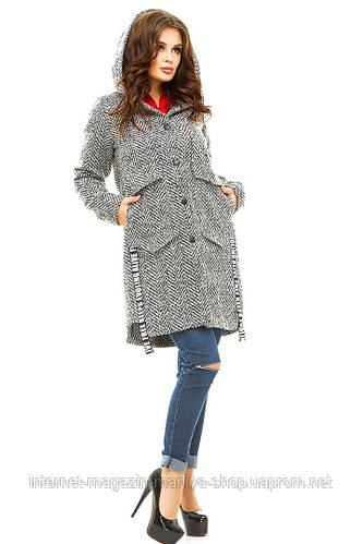 Пальто женское  пуговицы капюшон