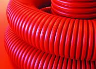 Гофрированная труба гибкая двустенная для кабельной канализации д.63мм, DKC, красная, с протяжкой