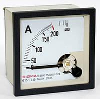 Амперметр 0 - 200А (200/5) аналоговый переменного тока панельный щитовой 96х96 мм в шкаф цена