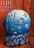 Морской подарок, свеча в ассортименте с морскими узорами