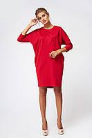 Платье трикотажное  красное свободного кроя