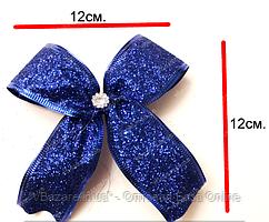 Новогодние банты на елку Метал синий 6 см
