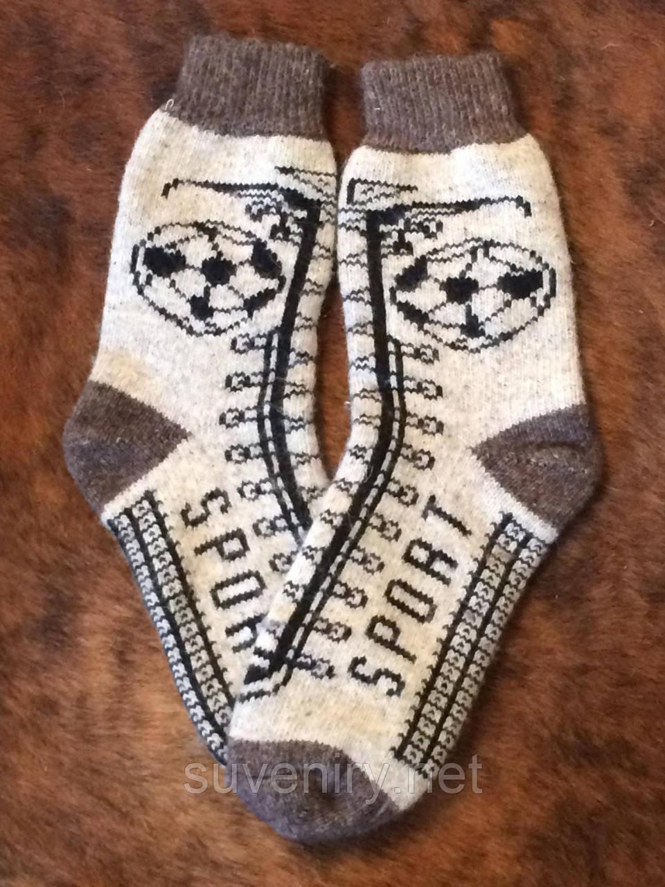 Теплые мужские ангоровые носки с надписью спорт