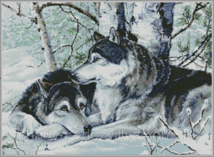 """Набор алмазной вышивки (мозаики) """"Волки в зимнем лесу"""" 30х40"""