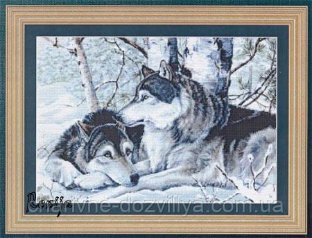 """Набор алмазной вышивки (мозаики) """"Волки в зимнем лесу"""" 30х40, фото 2"""