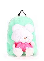 Детский рюкзак Poolparty с медведем зеленый искусственный мех