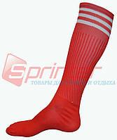 Гетры футбольные взрослые с полосками. Красные. В-150.