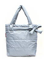 Дутая сумка Poolparty из стеганой болоньи серая с декором