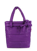 Дутая сумка Poolparty из стеганой болоньи фиолетовая с декором