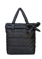 Дутая сумка Poolparty из стеганой болоньи черная с декором