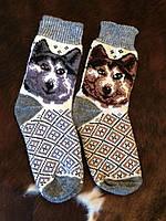 Мужские ангоровые носки с рисунком волка
