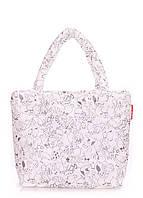 Дутая сумка Poolparty с принтом Коты белая