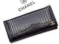 Женский кожаный лаковый кошелек (ch 9010) black , фото 1