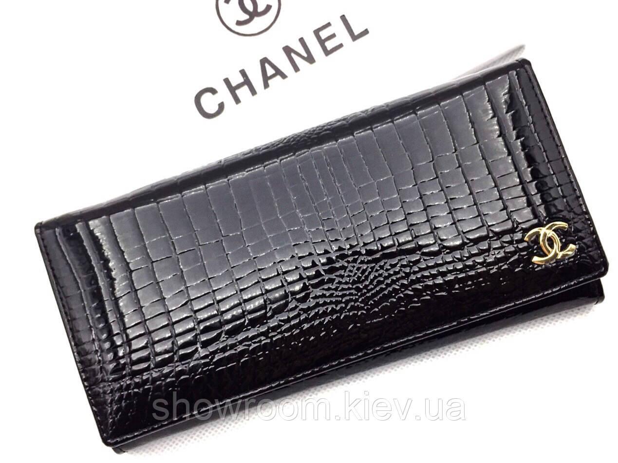 Женский кожаный лаковый кошелек (ch 9010) black