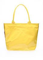 Лаковая сумка однотонная Poolparty большая желтая