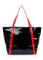 Лаковая сумка Poolparty черная с красным