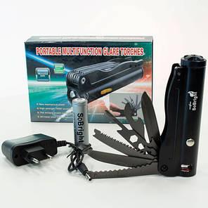 Фонарь ручной светодиодный SoBright 742 (Черный) тактический с ножами на аккумуляторах карманный, фото 2