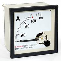 Амперметр 0-600А (600/5) переменного тока 72х72 мм щитовой стрелочный в шкаф аналоговый амперметр цена
