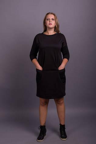 Прямое платье батал трикотажное с карманами, фото 2