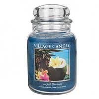 """Ароматическая свеча в стекле Village Candle """"Тропики"""". 740 гр/ 170 часов"""