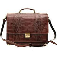 Кожаный мужской портфель ПАВ-20 коричневый крокко