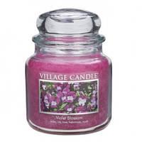 """Ароматическая свеча в стекле Village Candle """"Фиолетовый цветок"""". 455 гр/ 105 часов"""