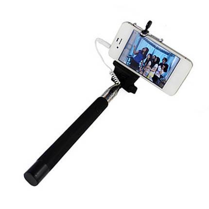 Монопод для селфи Z 07 5 S штатаив с кнопкой раскладной металл Selfie Stick смартфон Xiaomi Samsung (Черный), фото 2