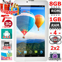 GPS Планшет Samsung Tab 7 с поддержкой 3G 4 ядра 7 дюймов 2 sim Аndroid 4.4 Ram 1 Gb Rom 8 Gb 3000 mAh Подарки