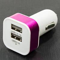 Автомобильное ЗУ USBx2 1A / 2A розовый зарядка от прикуривателя 2 юсб выхода для планшета телефона смартфона