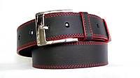 Джинсовый кожаный ремень 45мм черный прошитый двойной красной ниткой пряжка хромированная красные края