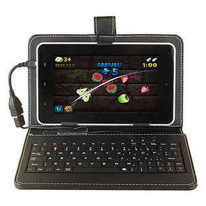Чехол книжка с клавиатурой 7 дюймов (Черный) для планшета Lenovo Xiaomi Samsung, фото 2