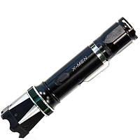 Фонарь ручной светодиодный X MEN 6610 (Черный) c электрошокером для самообороны аккумуляторный влагостойкий