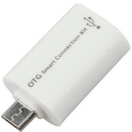 Переходник microUSB / USB 2,0 OTG белый адаптер с микро юсб на юсб для смартфона плашета телефона, фото 2