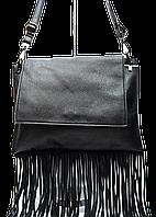 Интересная женская сумка из искусственной кожи черного цвета лапша