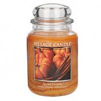 """Ароматическая свеча в стекле Village Candle """"Пряная тыква"""". 740 гр/ 170 часов"""