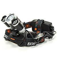 Фонарь BORUIT JX 209 Черный налобный светодиодный с аккумулятором