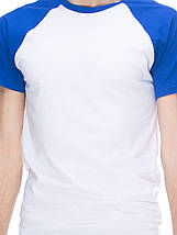 Футболка мужская реглан, бело синий, фото 2
