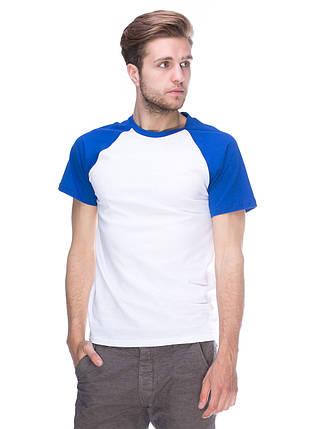 Футболка чоловіча реглан, біло синій, фото 2