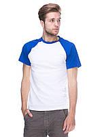 Футболка мужская реглан, бело синий