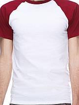 Футболка мужская реглан, бело бордовый, фото 2
