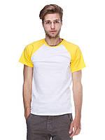 Футболка мужская реглан бело желтый
