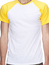 Футболка мужская реглан бело желтый, фото 2
