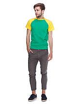 Футболка мужская реглан, зелено желтый, фото 3