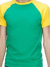Футболка мужская реглан, зелено желтый, фото 2
